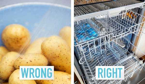 You wash your potatoes individually in the sink. If you're cooking for a lot of people, washing potatoes can be a major time suck. But thanks to this sneaky tip, you can focus on other things while your dishwasher does all the work. Yes, your dishwasher. Just run the potatoes through rinse cycle (don't use soap!) and you'll have some squeaky clean spuds. Get other Thanksgiving prep tricks at redbookmag.com.