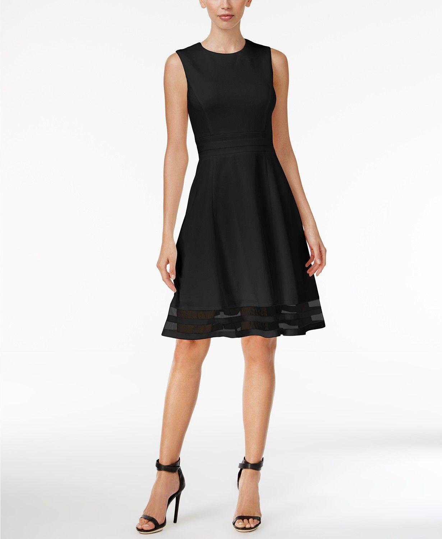 aff52192 Calvin Klein Illusion-Trim Fit & Flare Dress, Regular & Petite Sizes -  Dresses - Women - Macy's