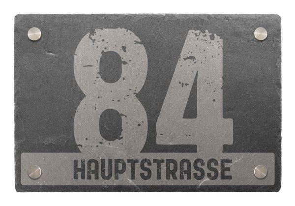 Hausnummer aus Schiefer mit Name oder Straßenname 30 x 20 cm - Variante 5