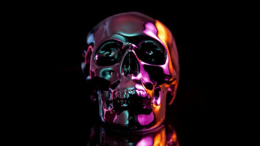Oil Slick Skull 4k Wallpaper Skull Wallpaper Oil Slick Skull