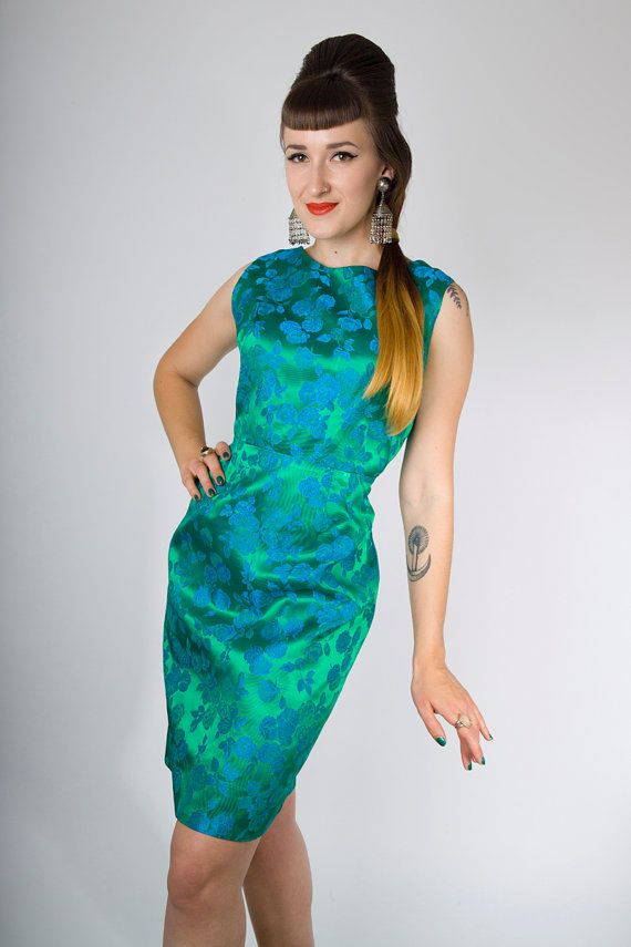 Vintage 60s Green Blue Floral Jacquard Satin Cocktail Dress / 1960s Rose Brocade Hourglass Sleeveless Mad Men Evening Sheath Party Dress (M) | Birthday Life Vintage on Etsy | $62.00