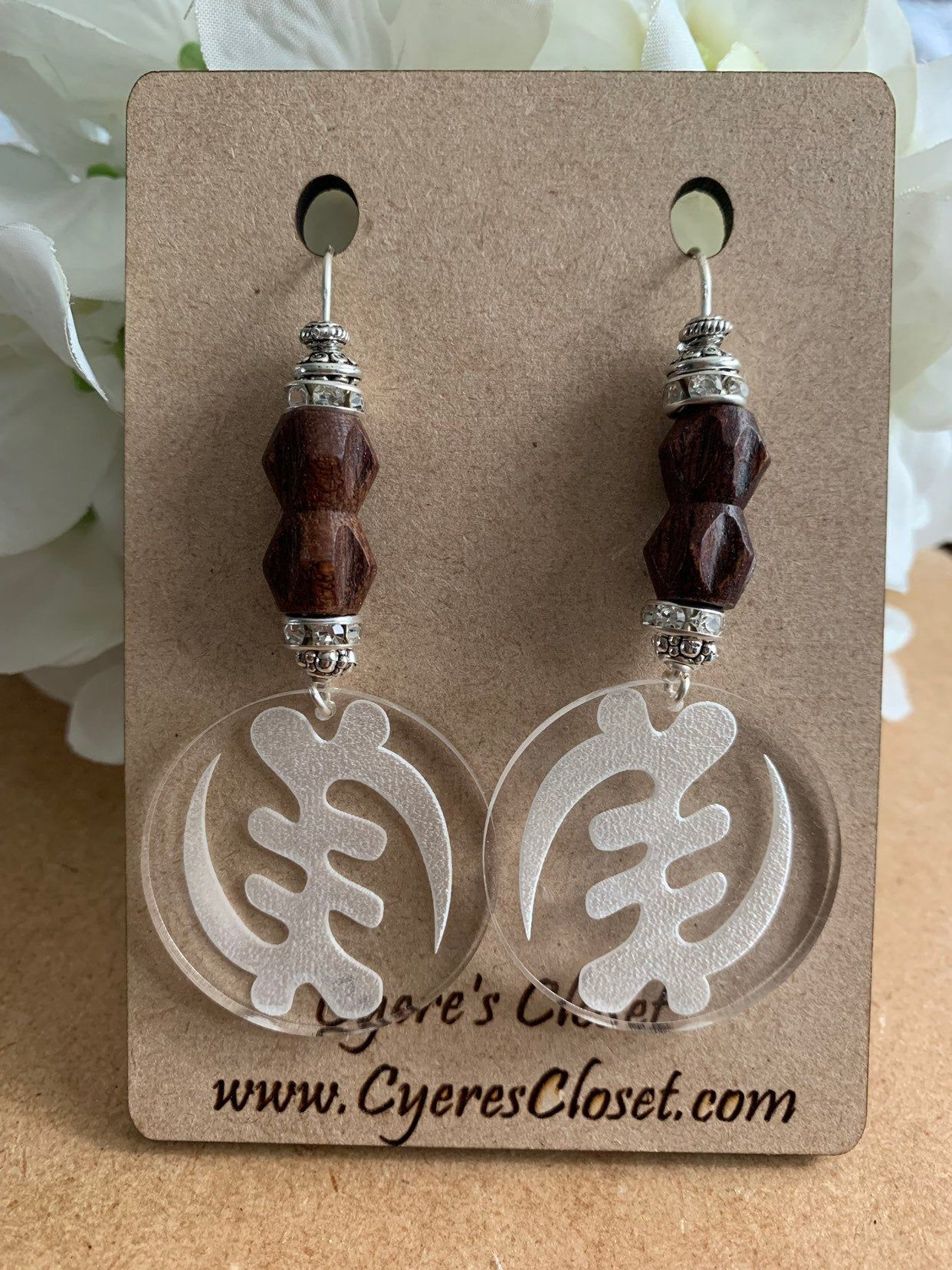 Silver GYE NYAME Dangle Earrings and Necklace Set
