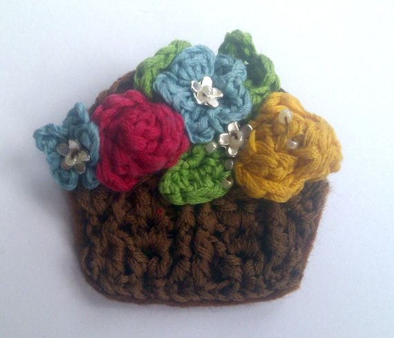 Crochet Pattern for mini Flower Basket Brooch 1950\'s inspire, Make a ...