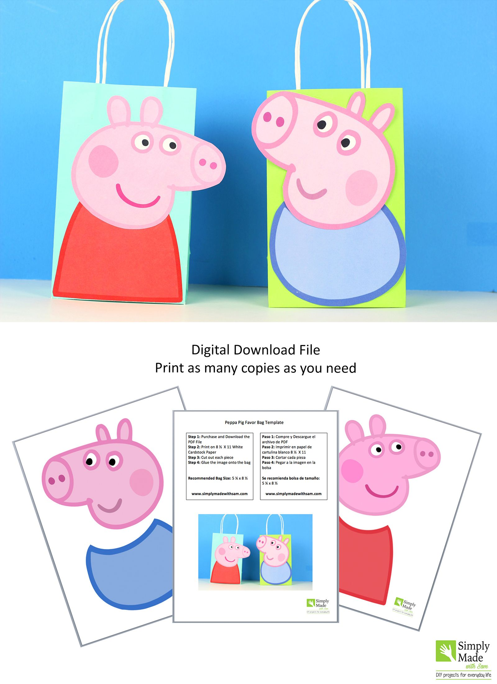 Peppa Pig Favor Bag | Peppas party | Peppa pig, Pig party, George