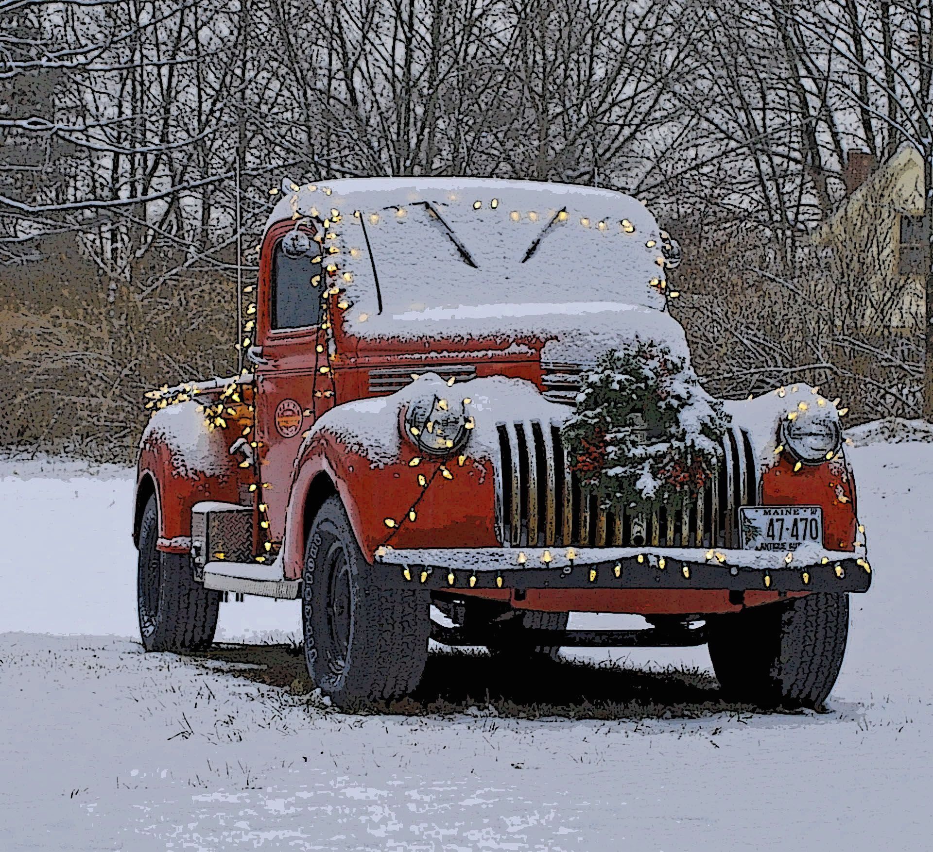 The Christmas Truck In Cape Elizabeth Maine Christmas Truck Christmas Red Truck Old Pickup Trucks