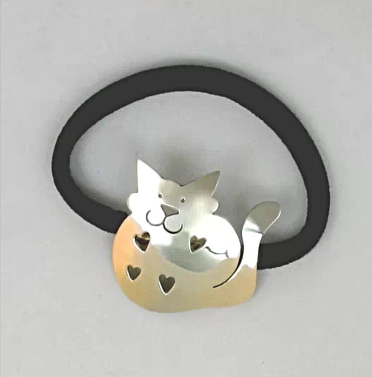 Cat Ponytail Holder   Sterling Silver   By Far Fetched