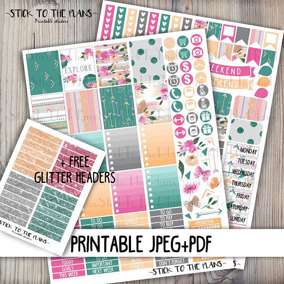 Floral Summer printable planner stickers for your Erin Condren