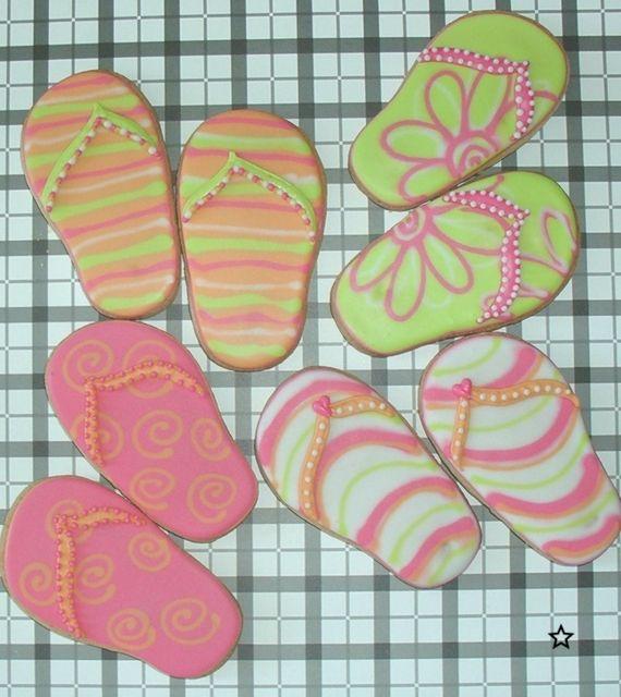 Flip flop cookie favors