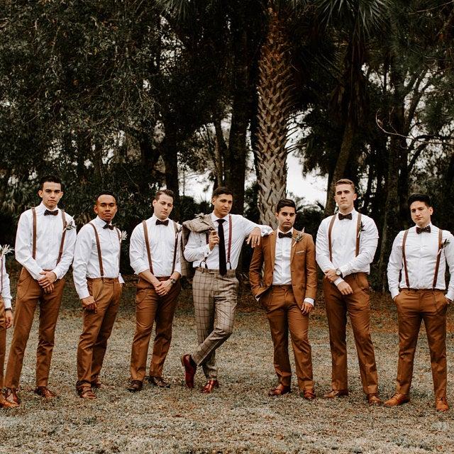 Brown Suspenders-Skinny 1/2 inch faux leather Rustic wedding groomsmen/ring bearer outfits- Backyard,Boho,Enchanted, Forest,Beach,Backyard