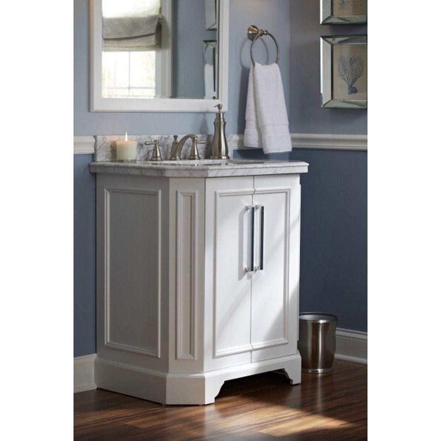 Shop Allen Roth Delancy White Undermount Bathroom Single Sink Vanity With Natural Marble Top