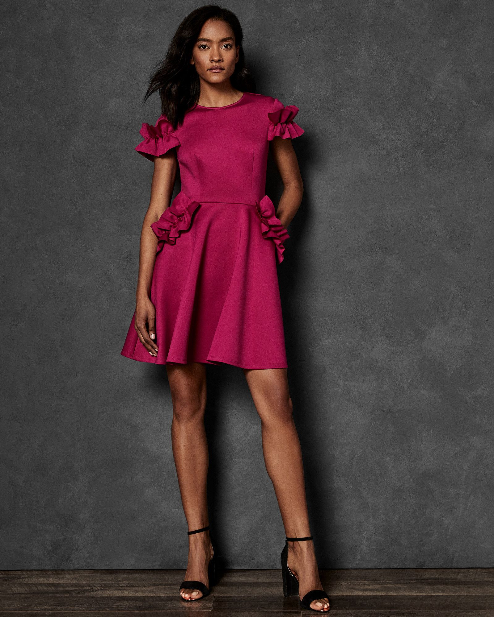 4200840538eec Ruffle Detail Skater Dress
