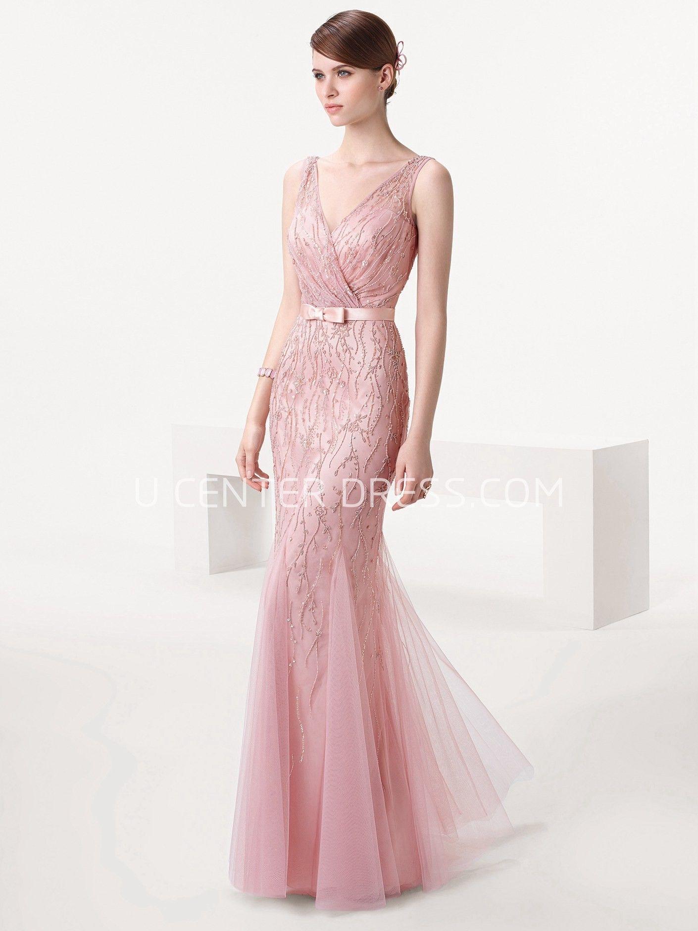 Sheath Sleeveless Floor-Length Beaded V-Neck Tulle Prom Dress ...