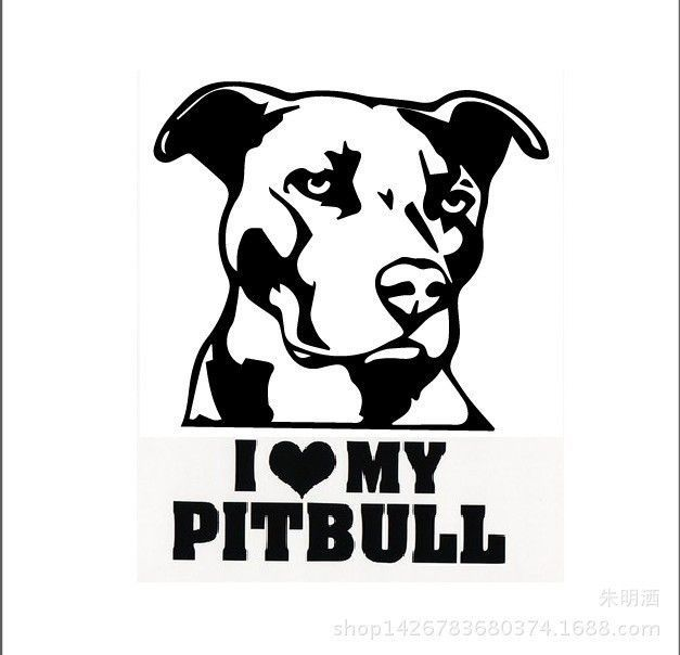 Pitbull Car Mural Window Sticker Art Pitbull Lover Organic Pet