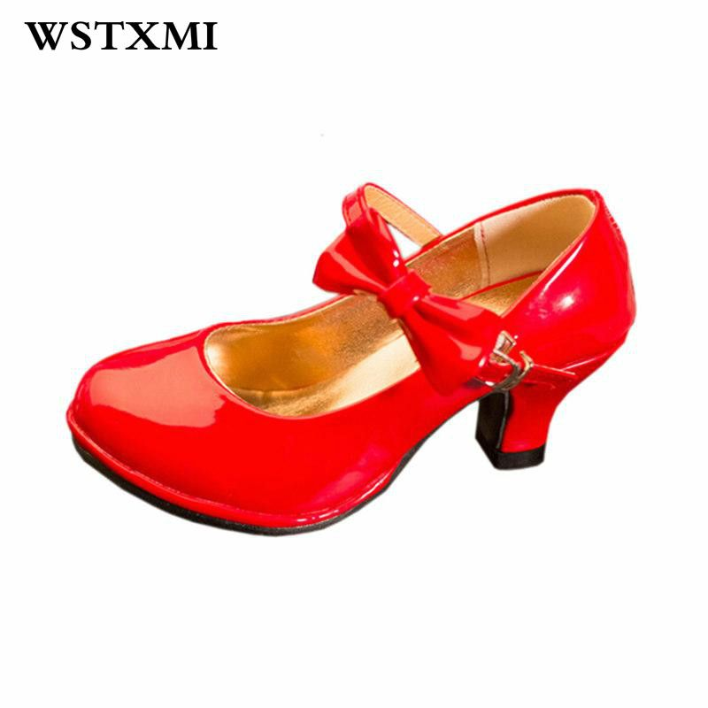 b58003f7153a2 Click to Buy << Classic Bow Girl High Heels Patent Leather Shoes For Little  Girls Party Dance Children Kids Princess Sandals Red Wedding Shoes  #Affiliate