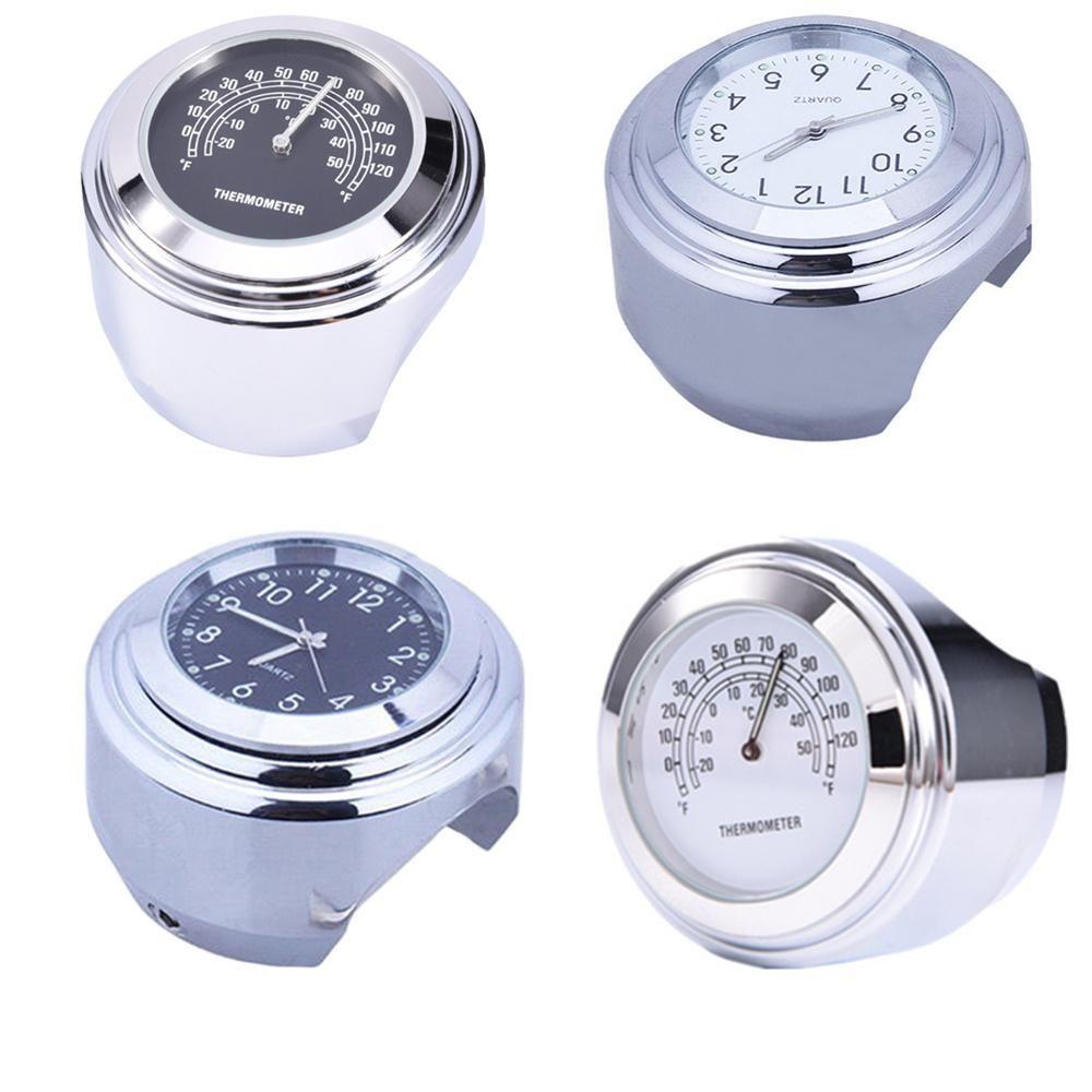 Aluminum Motorcycle Bike Bicycle Handlebar Mount Clock Watches Silver