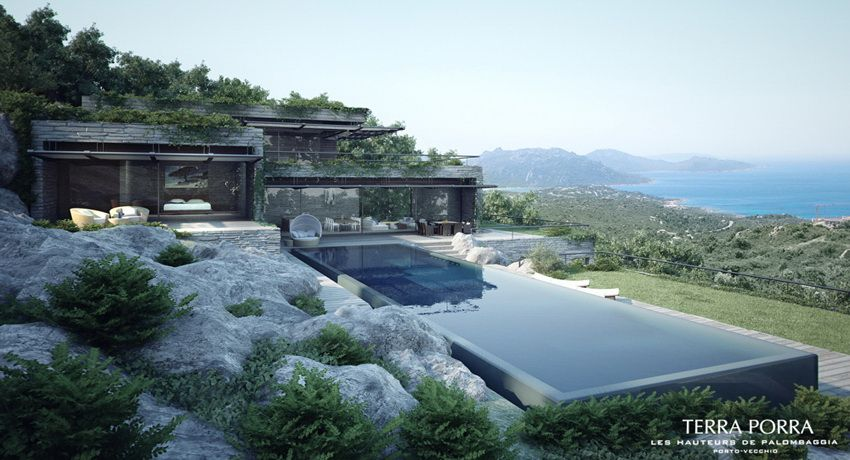 Mountainside Villa With Pool And Green Roof In Corsica By Gottesman Szmelcman Architecture Ocean View Villas Architecture House Architecture Design