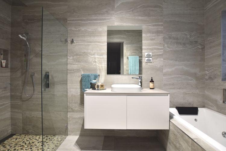 Wet Room Designed Bathroom With Single Tone Colour Scheme Reverso 450 X 900mm Italian Tiles And Modern Bathroom Colours Colorful Bathroom Tile Bathroom Design