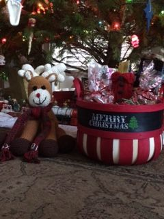 Wine basket and reindeer.  Christmas gifts