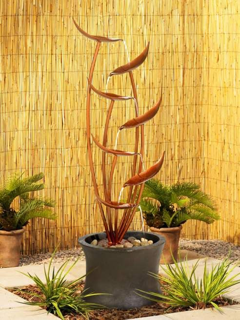 Tiered Copper Leaves Indoor Outdoor 41″ High Fountain – #M3241 | Lamps Plus