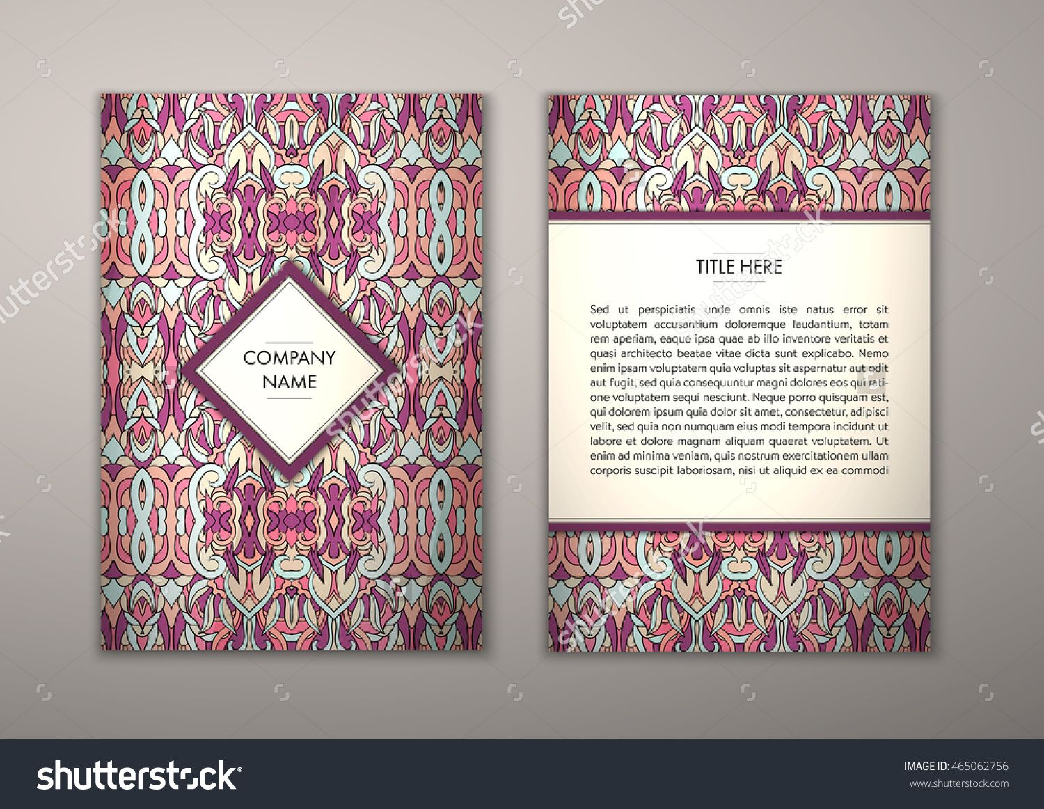 flyer template with abstract ornament pattern vector greeting card design front page and back