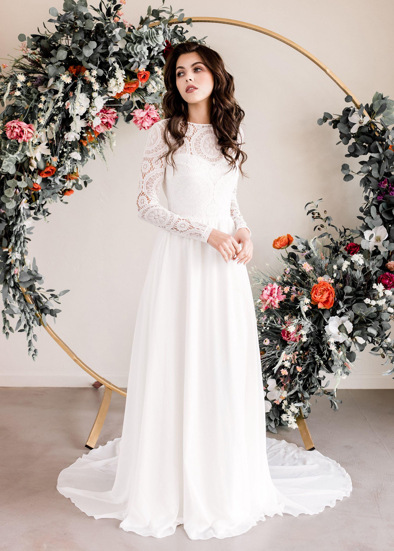 Indie wedding dress boho wedding dress long sleeve