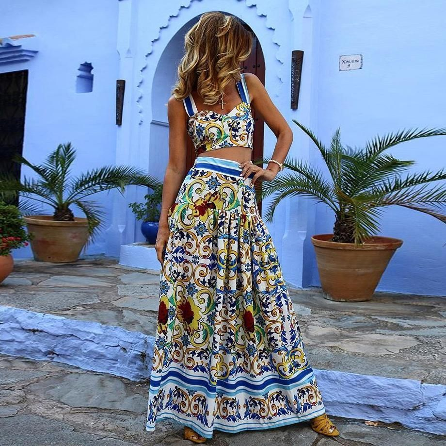32c36425eb Sexy Off Shoulder Midriff-Baring Floral Printed Beach Maxi Dress – Chicsia
