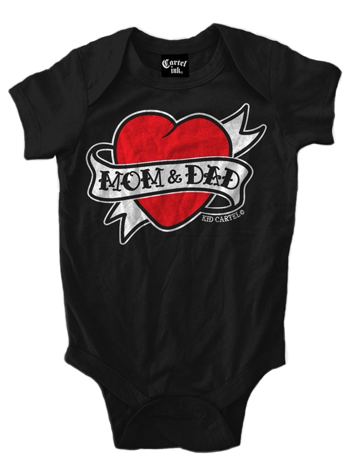 """Infant's """"Mom And Dad Heart Tattoo"""" Onesie by Cartel Ink"""