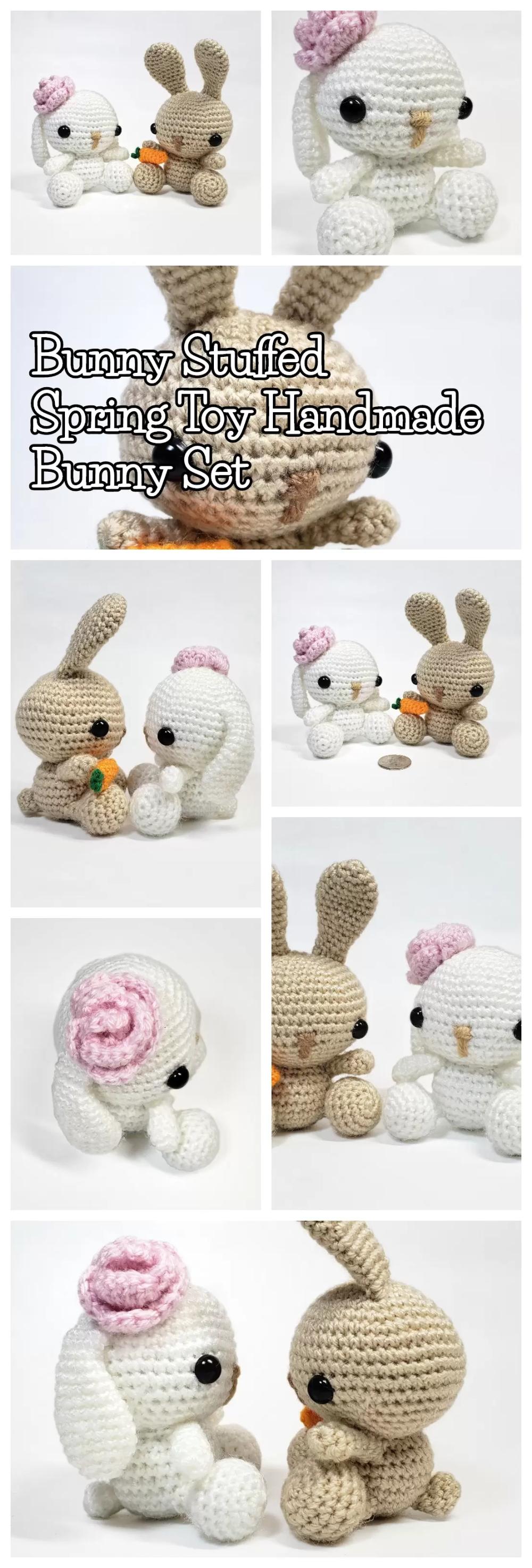 Bunny Stuffed Spring Toy Handmade Bunny Set Stitch.Live
