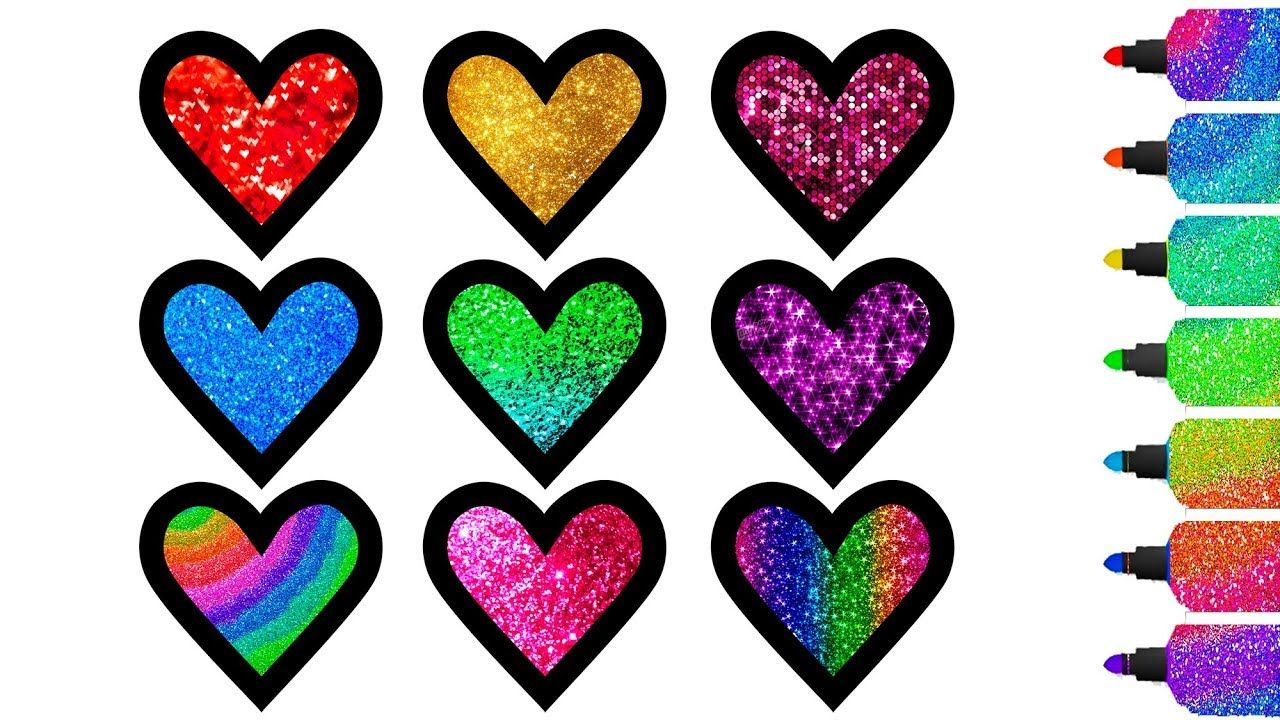 glitter hearts coloring miraculous pages 💖 how to draw