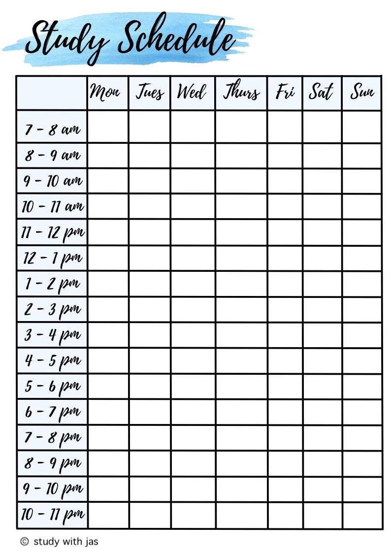 Study Schedule Printable Study Planner Printable Study Timetable Template Study Schedule Template Study plan template for students