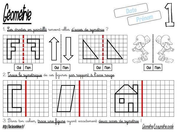 La symétrie axiale/Tracer le symétrique (CM-Géométrie-Les fiches d'exercices) | Géométrie ...