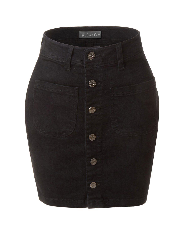 LE3NO Womens Casual Vintage Black Button Down A-Line Denim Skirt ... fe990b0351
