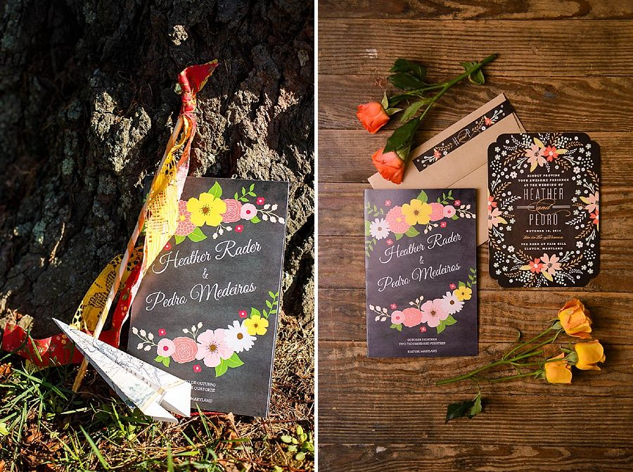 offbeat whimsical barn wedding invitations | Heather & Pedro\'s ...