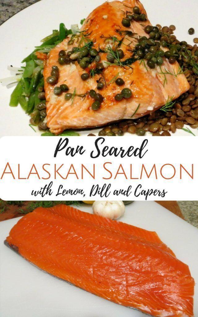 Pan Seared Alaskan Salmon with Lemon, Dill & Capers - #alaskan #capers #lemon #salmon #seared - #new #searedsalmonrecipes