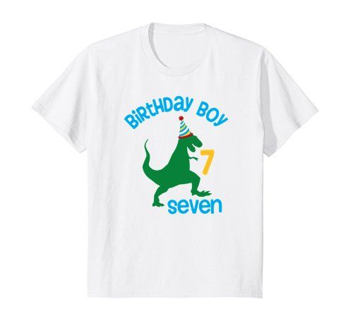 Kids 7th Birthday Shirt Boy Dinosaur Seventh Out