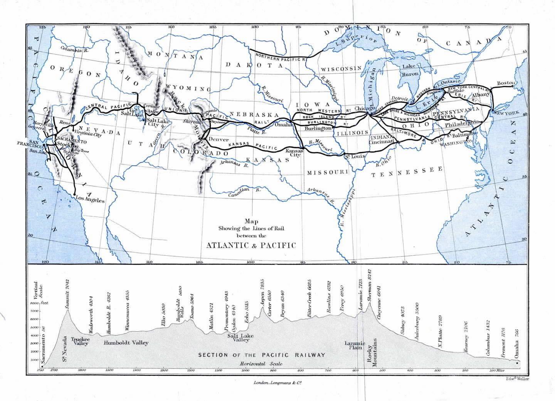 Transcontinental Railroad Map Transcontinental Railroad Timeline - Railway map usa 1890