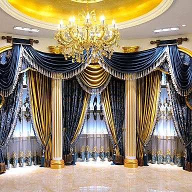European style luxury living room blue jacquard curtains - European style curtains for living room ...