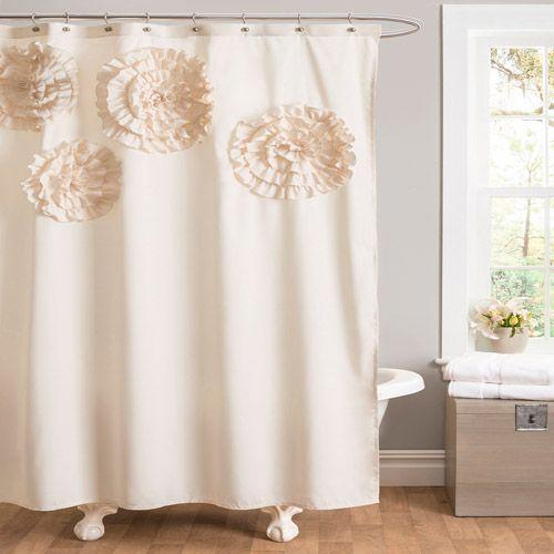 Flower Glamour Ivory Shower Curtain Bath Walmart Com My First