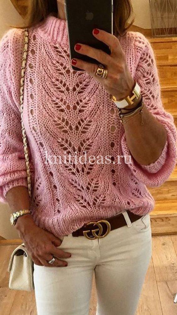 Photo of Wunderschöner durchbrochener Pullover mit Stricknadeln. Schema Muster …