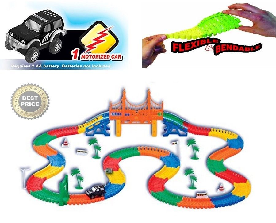 Glow In The Dark Race Car Tracks With 360pk Flexible Track Set And 2 Led Toy Cars Race Car Track Glow Travel Toys