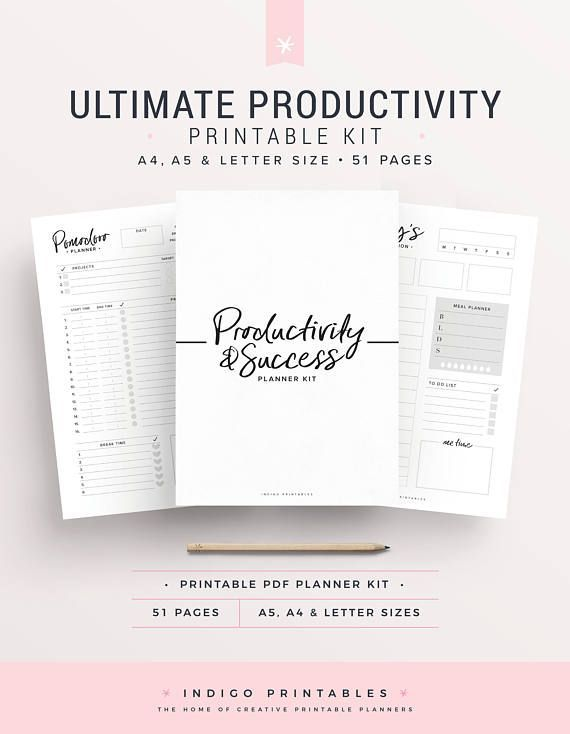 Productivity Planner Goal Planner Success Printable Planner - Productivity planner review