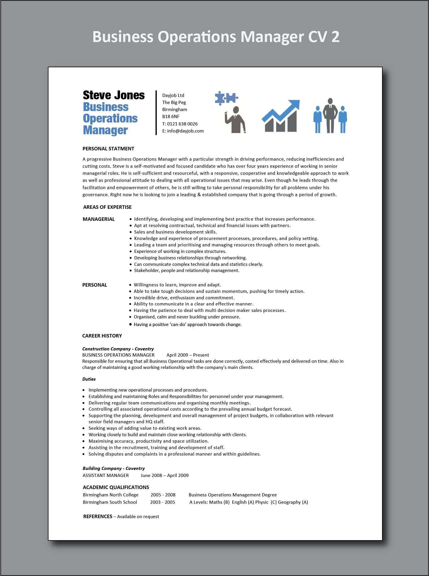 Business Operations Manager Resume Operations management