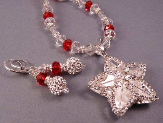 Christmas Necklace Christmas Jewelry Crystal by bluerosebeadery, $36.00
