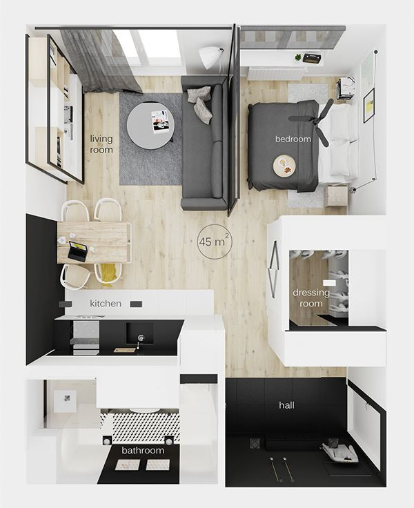 tight but delightful room layout home gray black white decor in 2018 pinterest. Black Bedroom Furniture Sets. Home Design Ideas