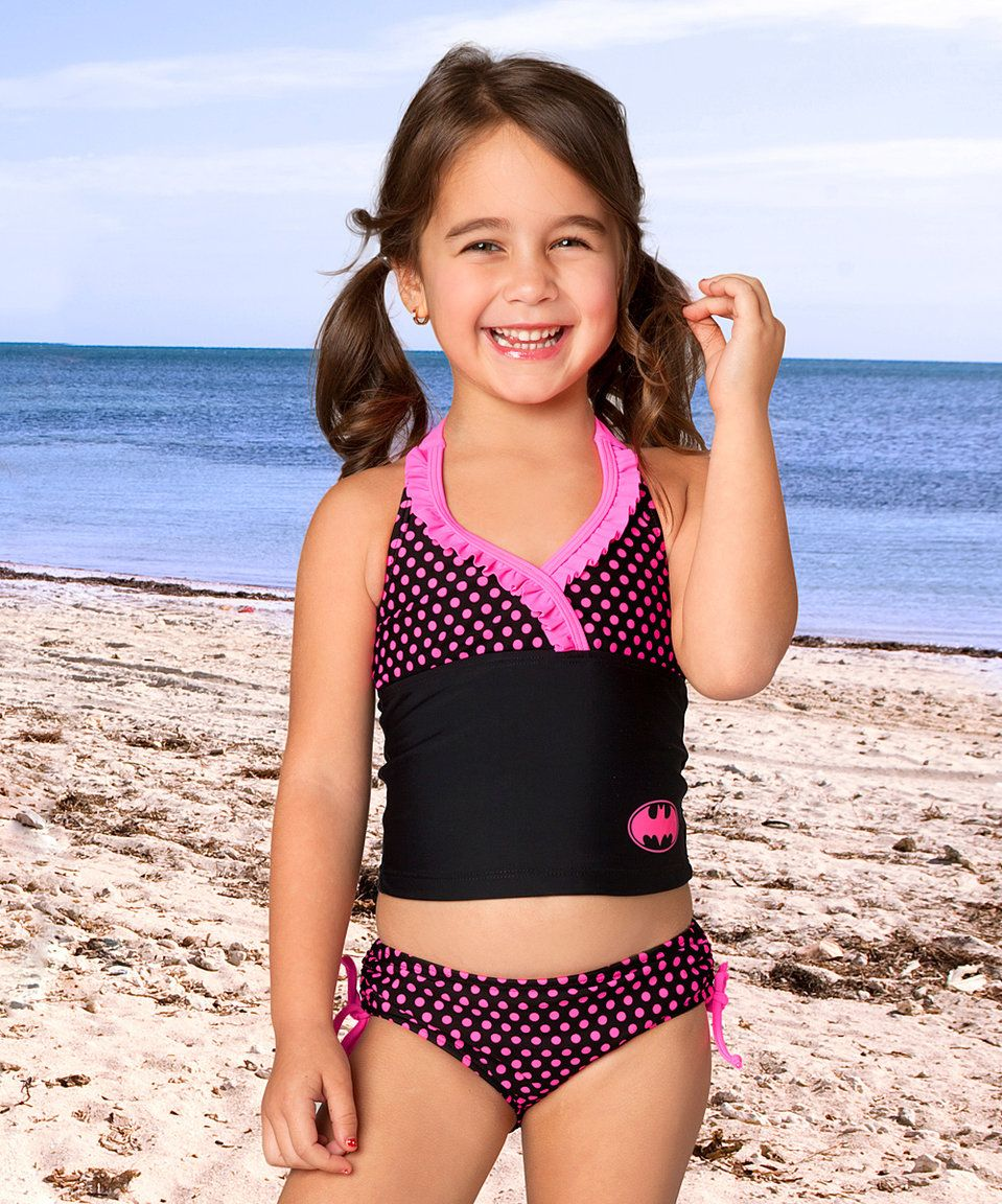 123d0f4f184bb Take a look at this InGear Black & Pink Polka Dot Batgirl Tankini - Toddler  & Girls today!