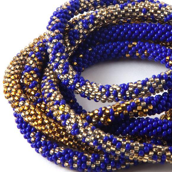 long bead crochet necklace cobalt blue and gold mosaic photo grão beaded jewelry's photos - Buzznet