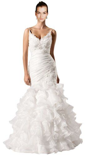 *Maillsa Mermaid Organza Spaghetti Wedding Dresses c0145 (6, White) Maillsa http://www.amazon.com/dp/B00GSLEA74/ref=cm_sw_r_pi_dp_wfD.tb0E4Q8E5