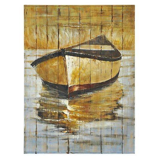 Peinture sur bois 36x48po Chaloupe Tanguay Pinturas Pinterest