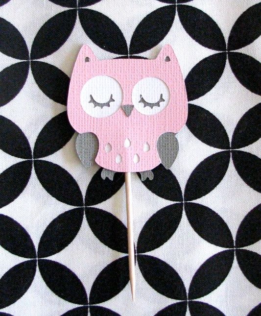 Pink And Gray Owl Cupcake Toppers Baby Shower Decoration