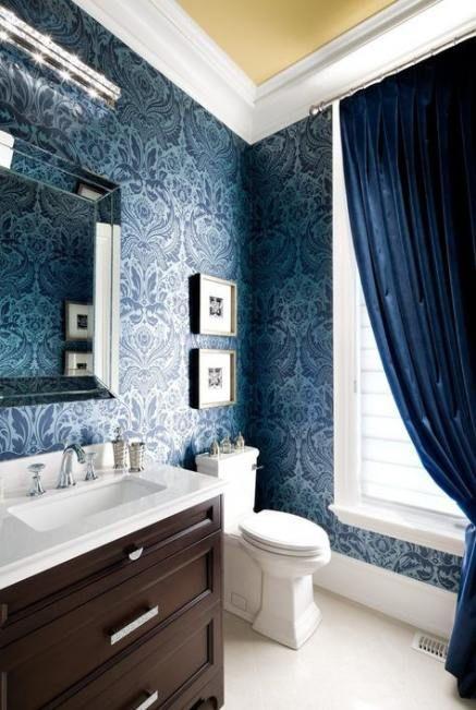 best bathroom wallpaper blue white tiles ideas  Декор